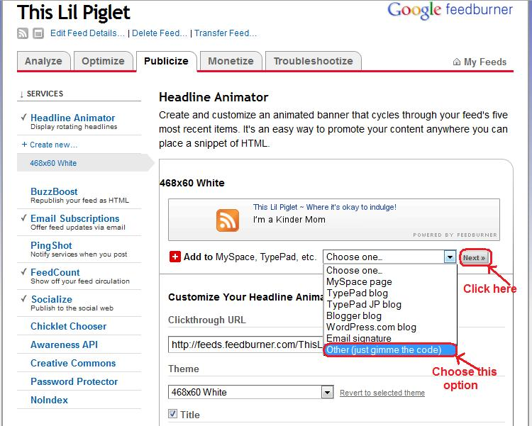 Feedburner Headline Animator Activation