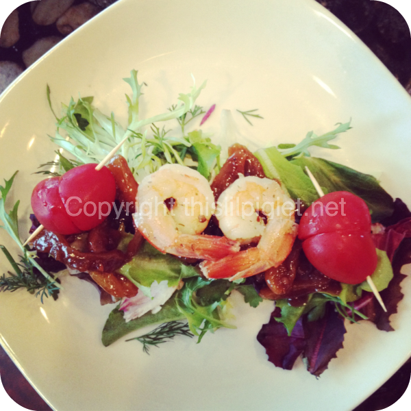 Valentine Heart Themed Shrimp Salad with Brandied Apricot Sauce