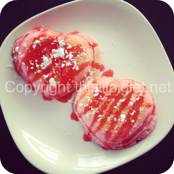 Heart Shaped Pancakes Strawberry Sauce Powdered Sugar