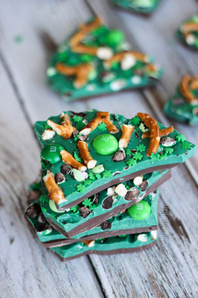 Shamrock Mint Chocolate Bark