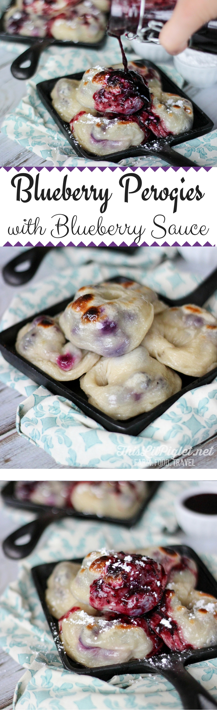 Blueberry Perogies with Blueberry Sauce // thislilpiglet.net