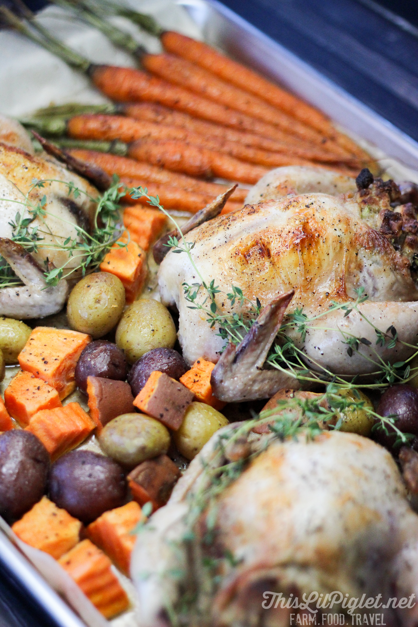 Family Style One Pan Meals: Stuffed Cornish Hens with Roasted Vegetables // @thislilpiglet