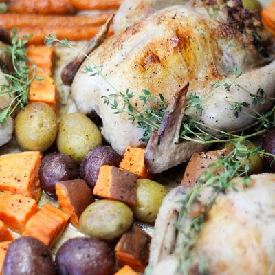 One Pan Meals: Stuffed Cornish Hens Roasted Vegetables