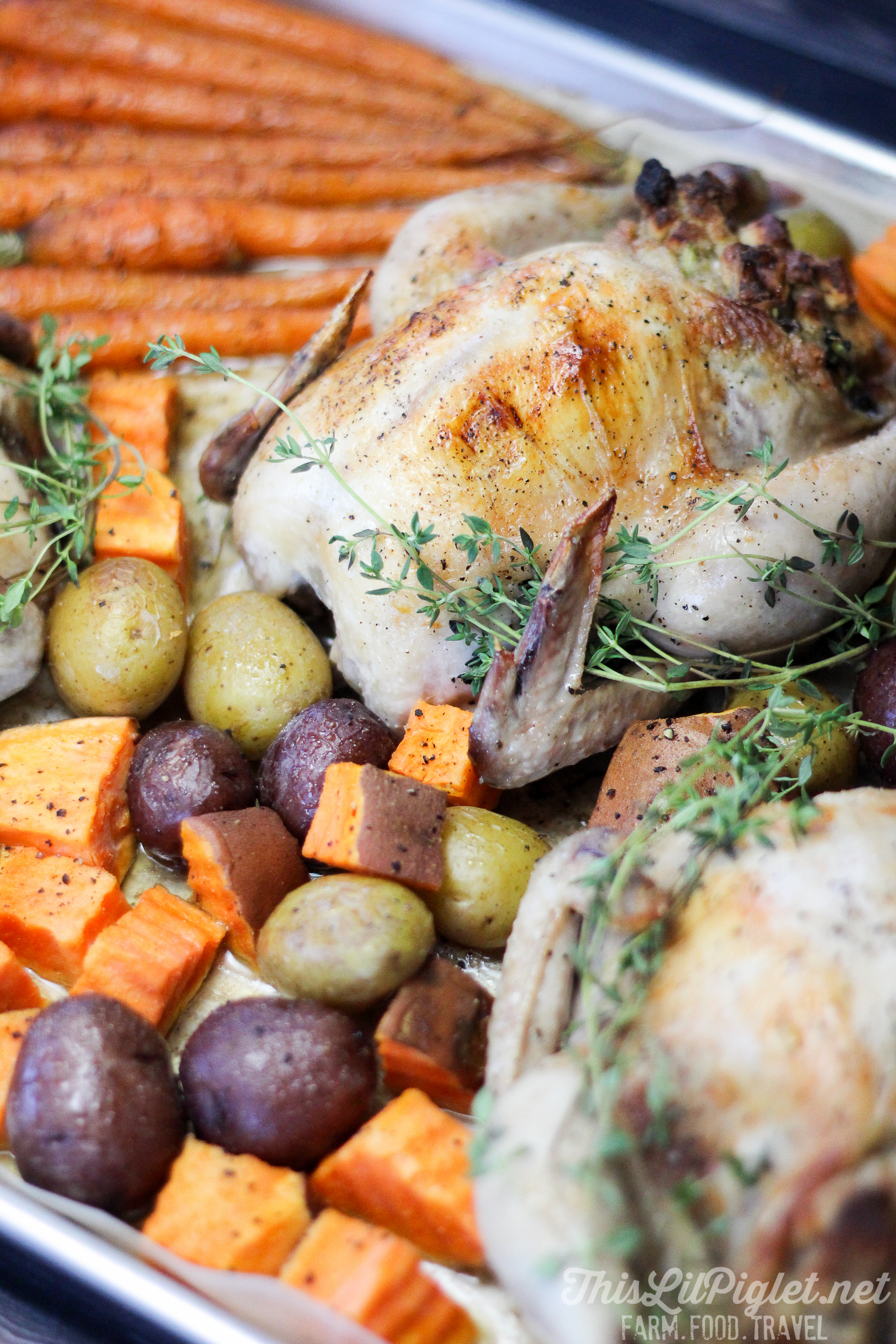 Family Style One Pan Meals: Stuffed Cornish Hens Roasted Vegetables // @thislilpiglet