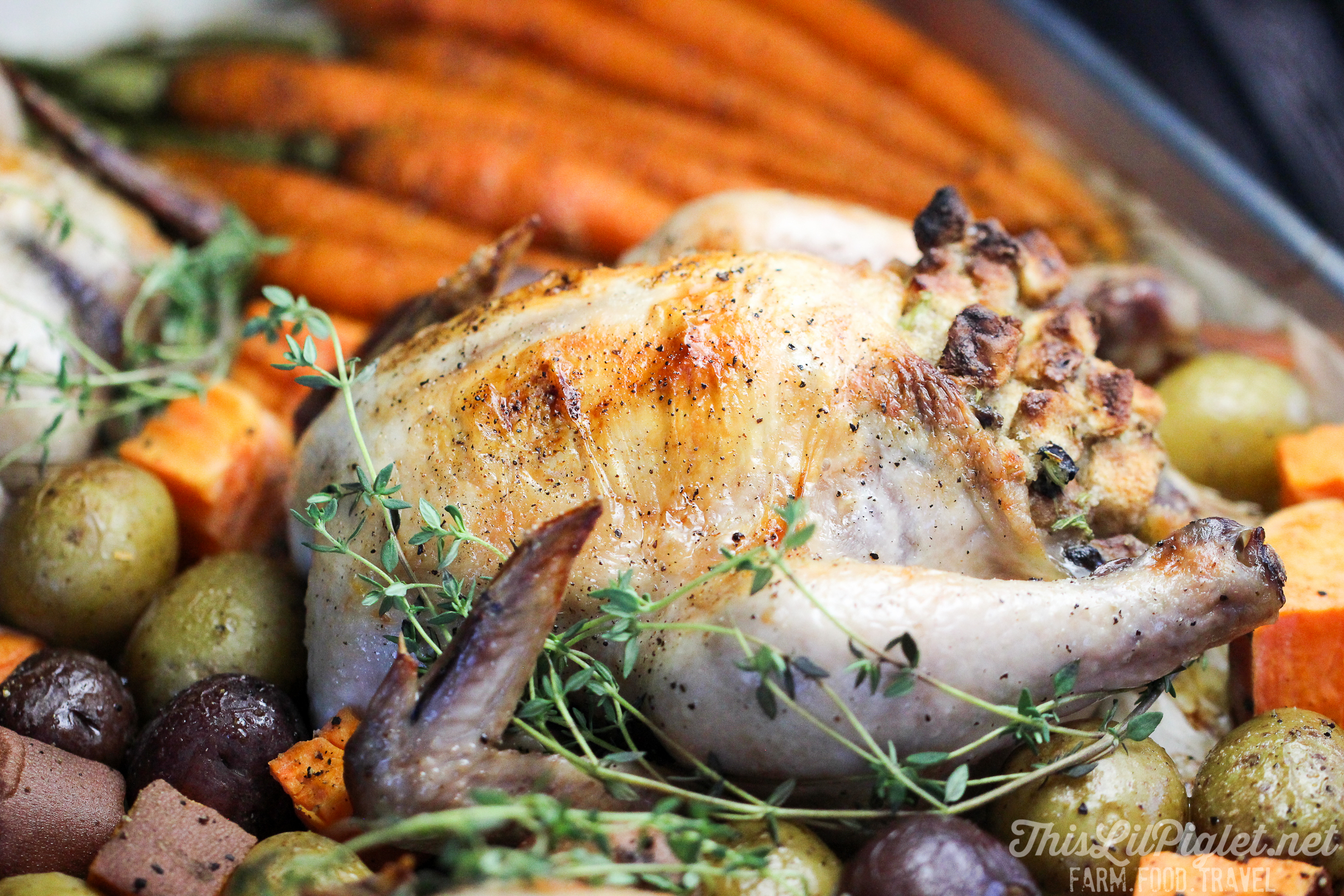Family Style One Pan Meals: Stuffed Cornish Hens and Roasted Vegetables // @thislilpiglet