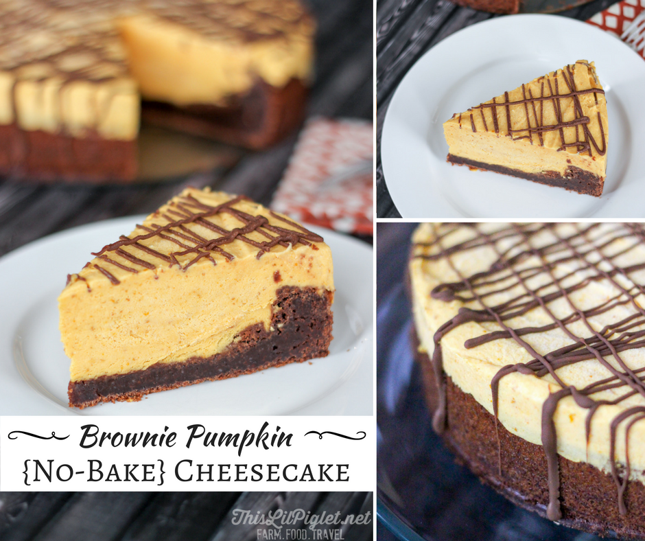 Brownie Pumpkin Cheesecake {No-Bake} FB // thislilpiglet.net