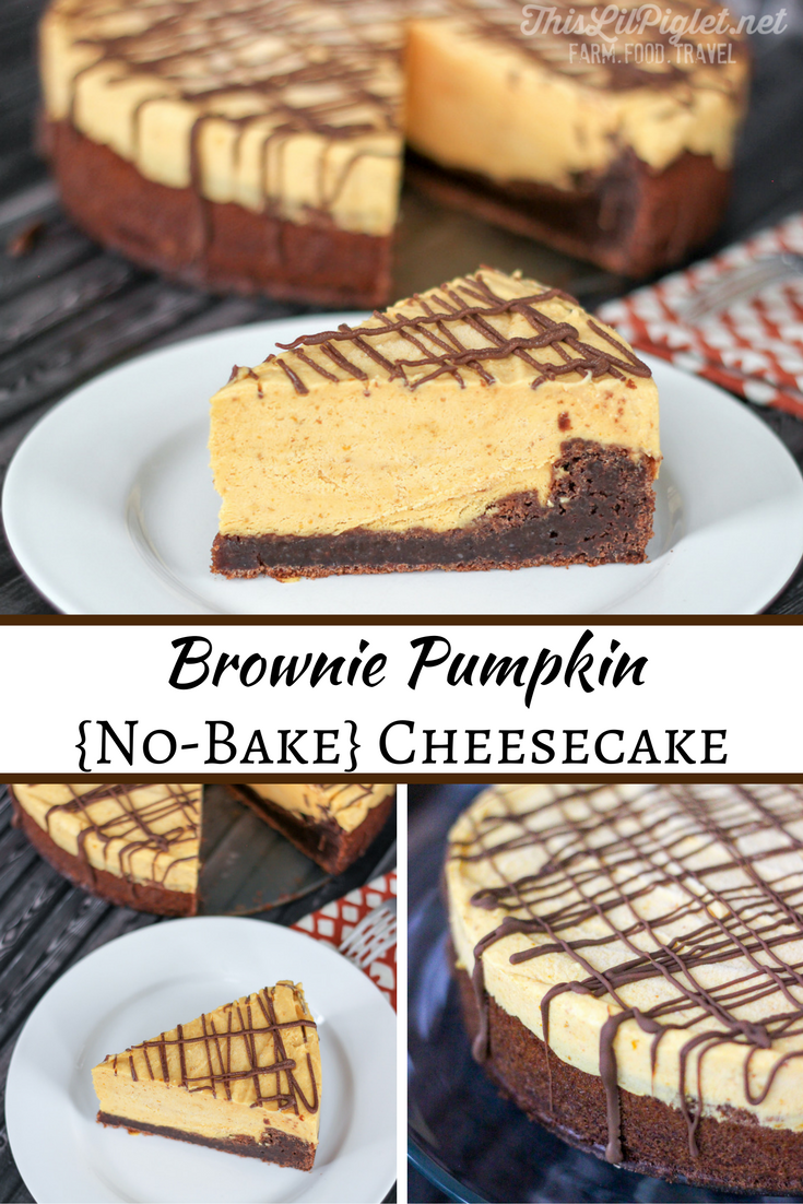 Brownie Pumpkin Cheesecake {No-Bake} Pin // via @thislilpiglet