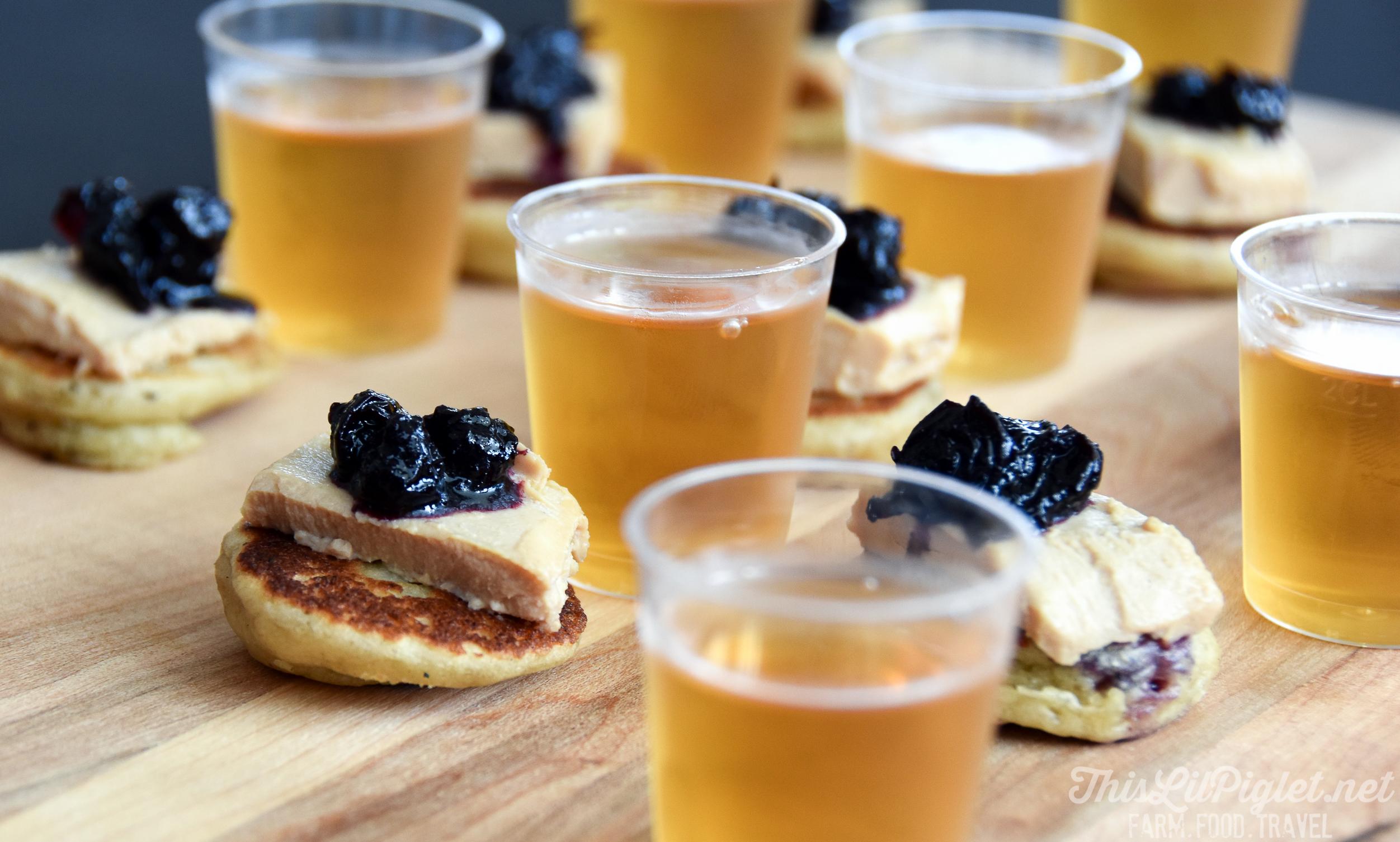 Quebec Farm to Table Discoveries: La Tournée des Chefs Goûtez le Québec - Foie Gras with Blueberry Compote on Pancakes // thislilpiglet.net