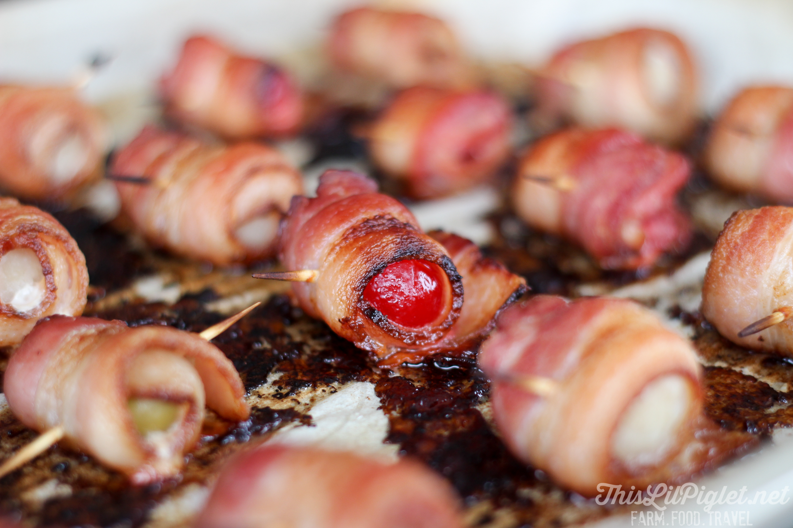 Baked Bacon Appetizers Cherries Olives and Water Chestnuts // thislilpiglet.net