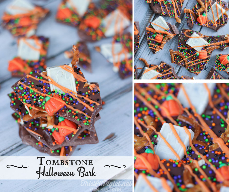 Tombstone Halloween Candy Bark Chocolate FB // via @thislilpiglet