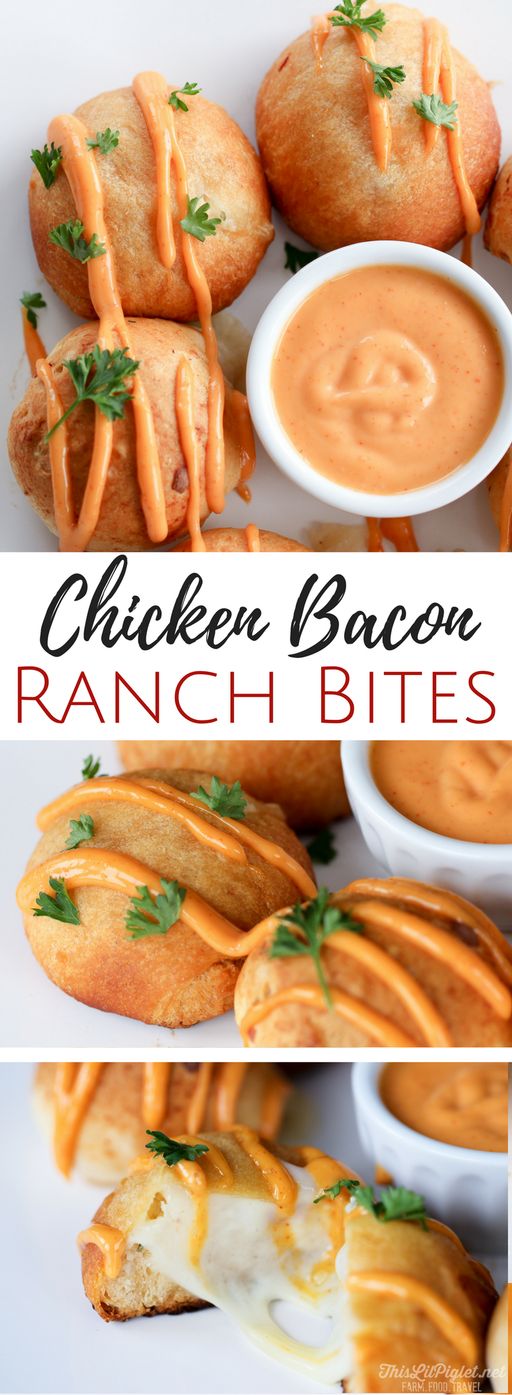 Chicken Appetizers: Chicken Bacon Ranch Bites // via @thislilpiglet