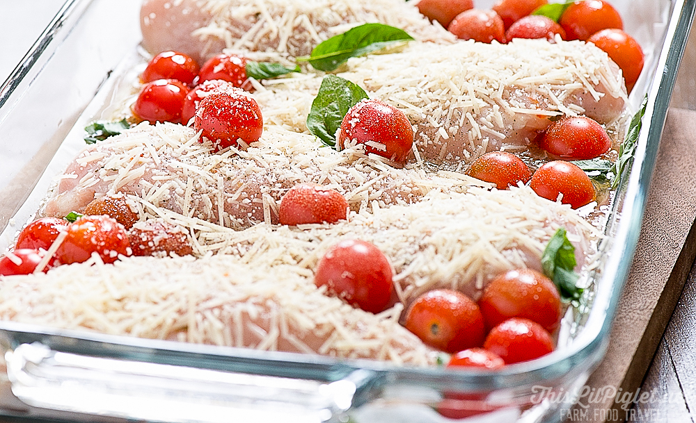 Easy Parmesan Chicken with Cherry Tomatoes and Basil // thislilpiglet.net