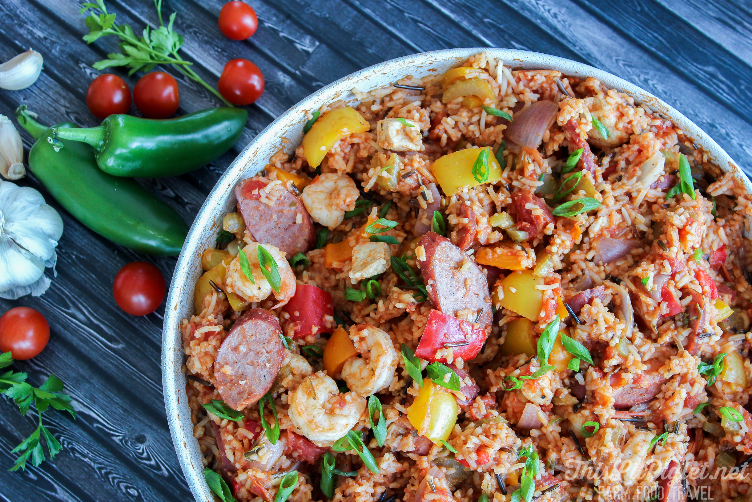 One Pot Meals: Jambalaya Recipe with Chicken, Sausage, Shrimp and Wild Rice // via thislilpiglet.net