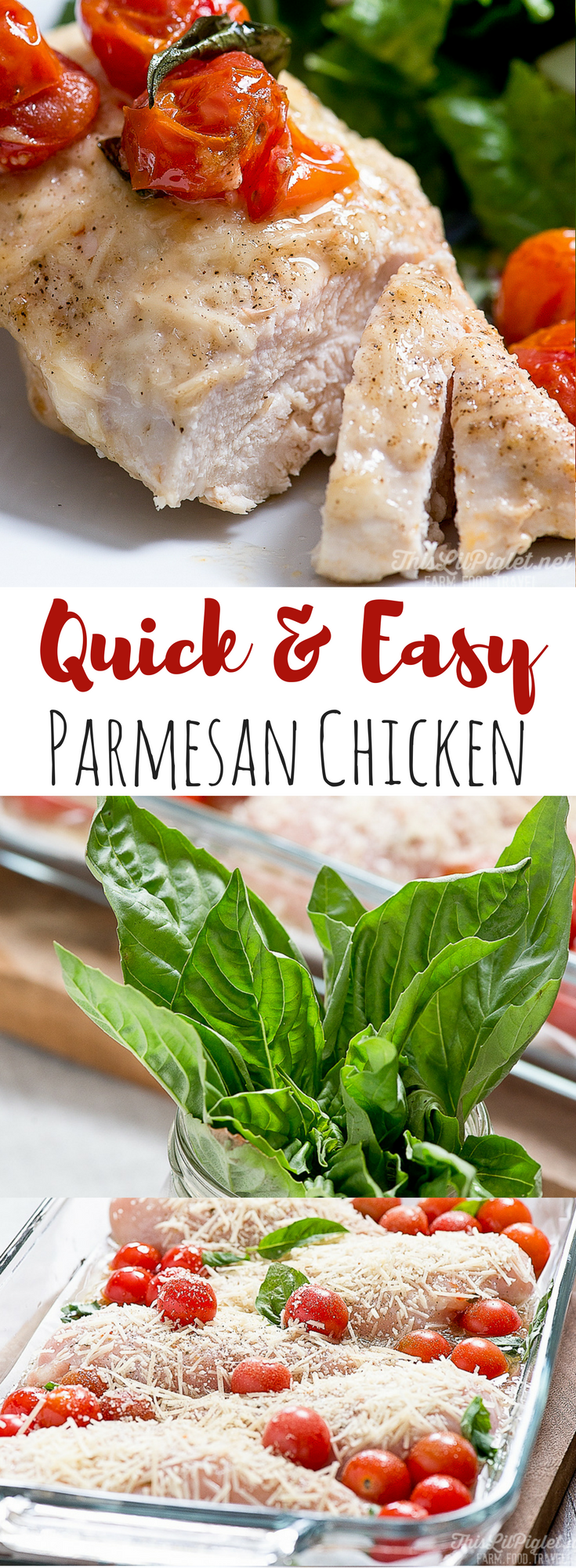 Quick and Easy Parmesan Chicken // via @thislilpiglet