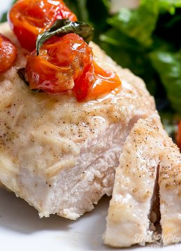 Easy Parmesan Chicken with Cherry Tomatoes // thislilpiglet.net