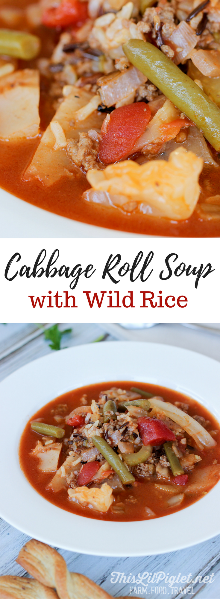 Cabbage Roll Soup and Wild Rice // via @thislilpiglet
