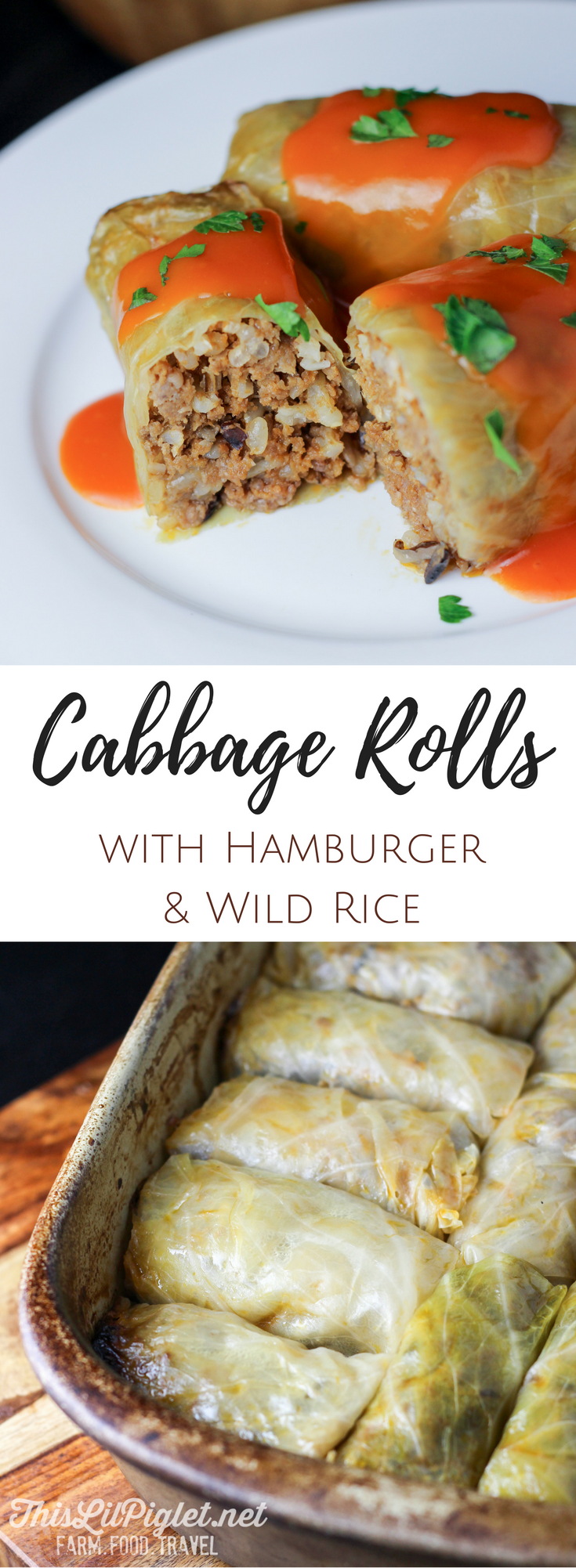 Cabbage Rolls With Hamburger and Wild Rice in Tomato Sauce PIN // thislilpiglet.net