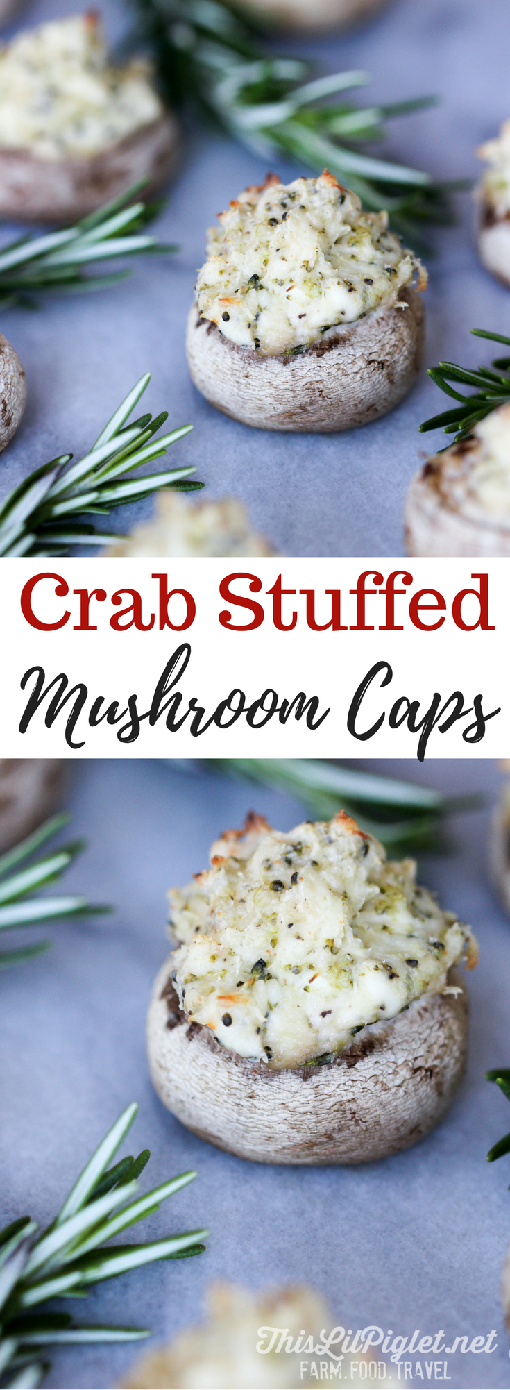 Crab Stuffed Mushroom Caps Appetizers // via @thislilpiglet