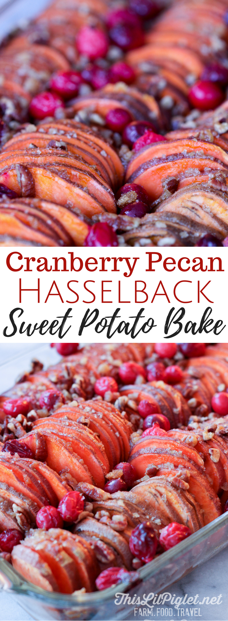 Cranberry Pecan Hasselback Sweet Potato Bake // via @thislilpiglet