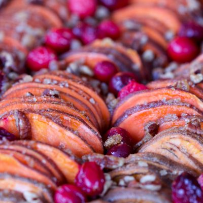 Cranberry Pecan Hasselback Sweet Potato Bake