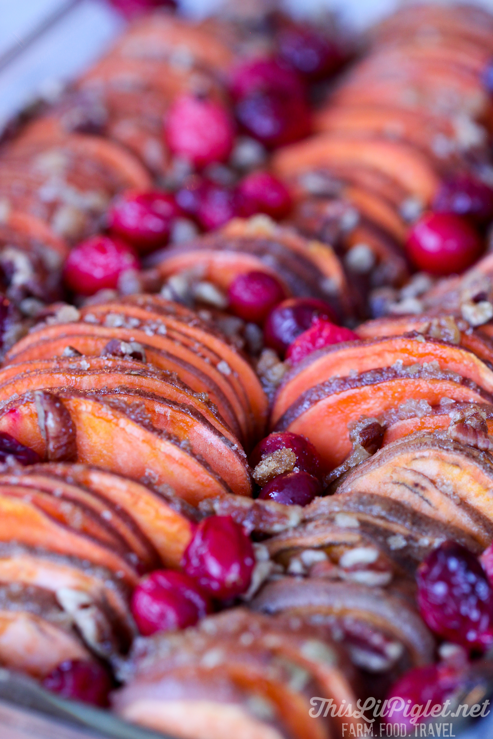 Hasselback Sweet Potato Bake with Cranberries and Pecans // thislilpiglet.net