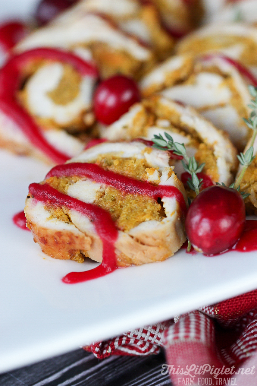 Stuffed Turkey Roll Drizzled with Cranberry Sauce // thislilpiglet.net