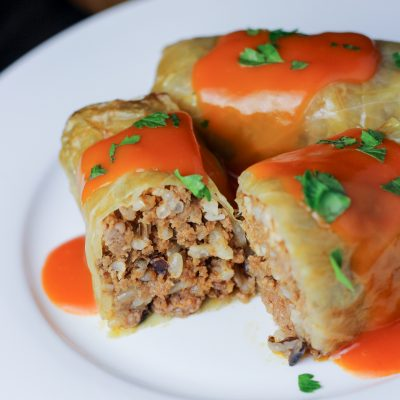 Cabbage Rolls with Hamburger Filling in Tomato Sauce