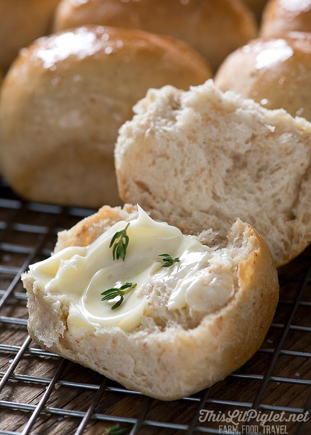 Homemade Dinner Rolls with Butter // thislilpiglet.net