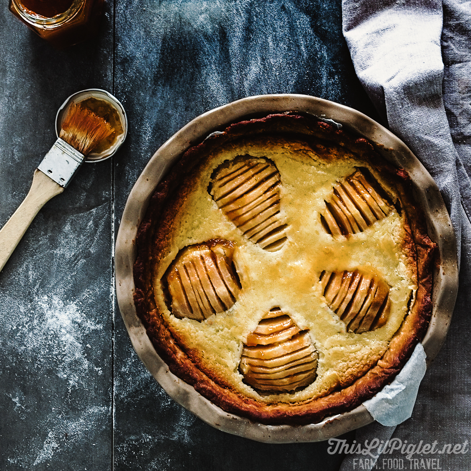 Wine Glazed Pear Tart with Frangipane Filling FB // thislilpiglet.net