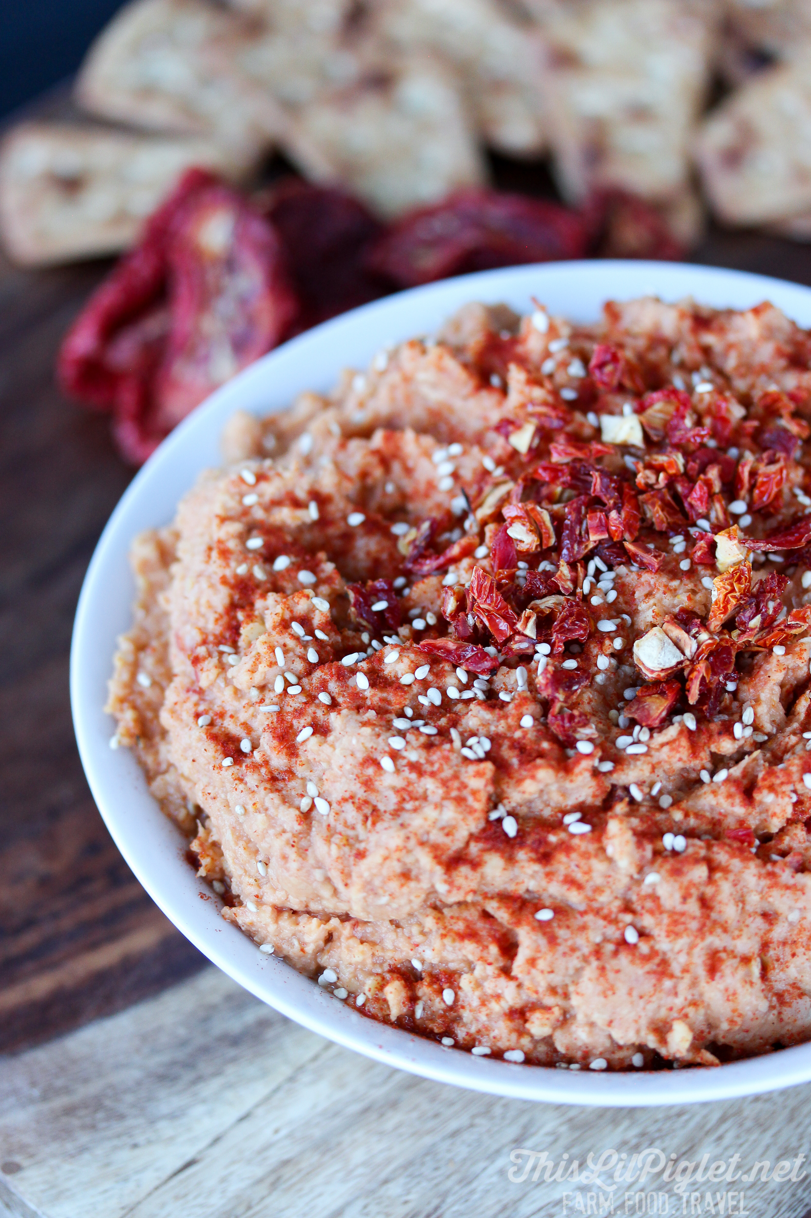 Sun-dried Tomato Hummus with Sesame Seeds - This Lil Piglet