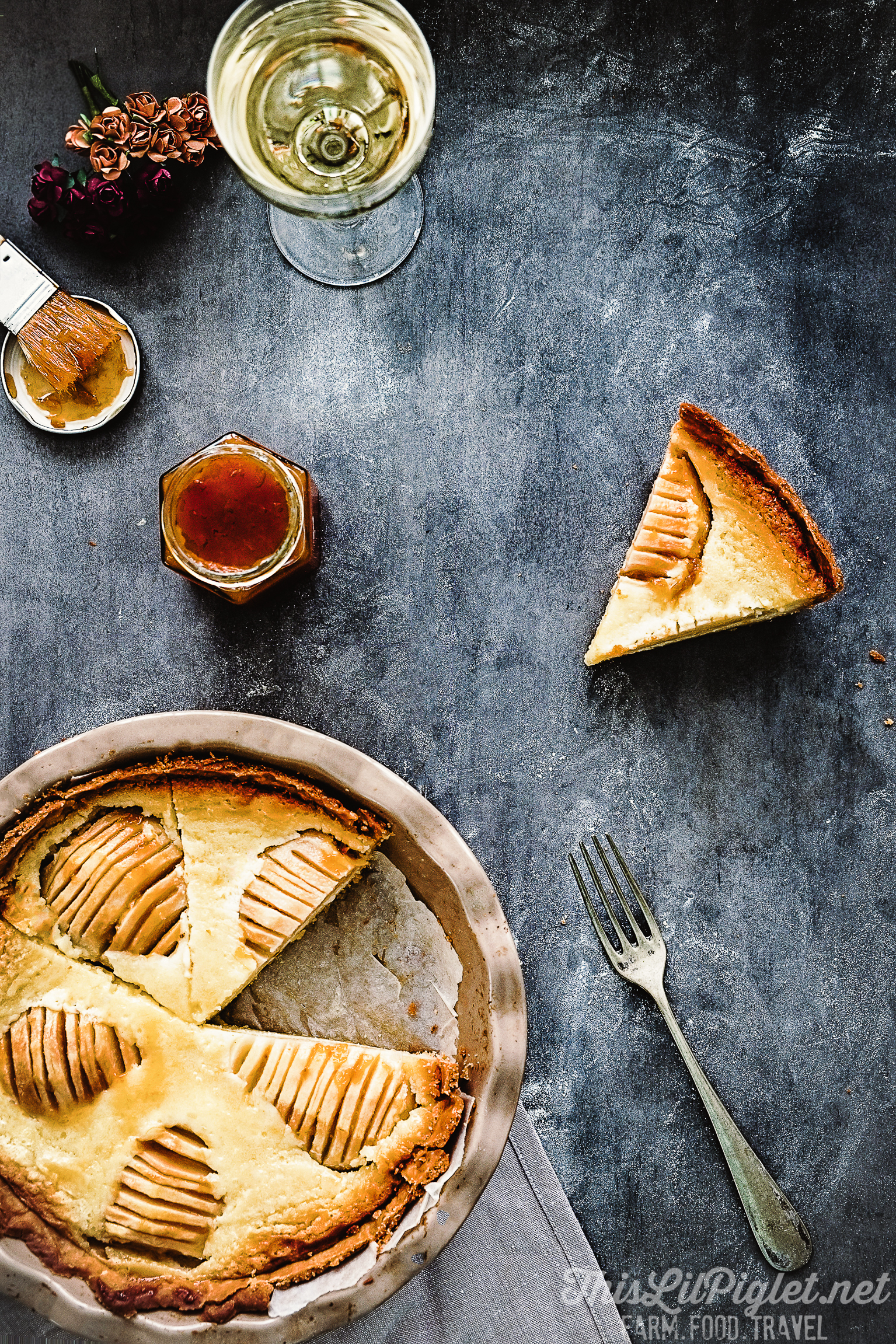 Wine Glazed Pear Tart with Frangipane Filling Sliced // thislilpiglet.net