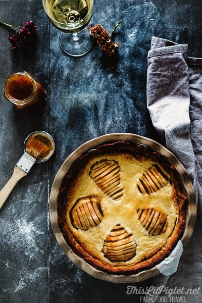 Wine Glazed Pear Tart with Frangipane Style Filling