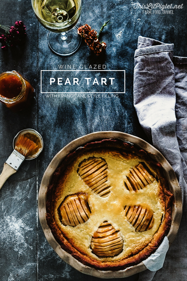 Wine Glazed Pear Tart with Frangipane Filling PIN // thislilpiglet.net