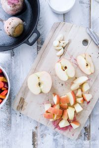 Skillet Chicken with Apple and Root Vegetables - Apples // thislilpiglet.net