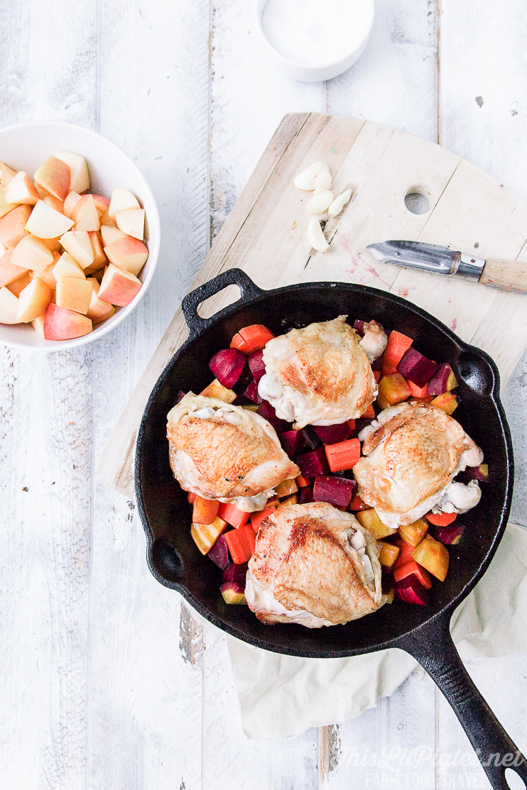 Skillet Chicken with Apple and Root Vegetables - Prep // thislilpiglet.net