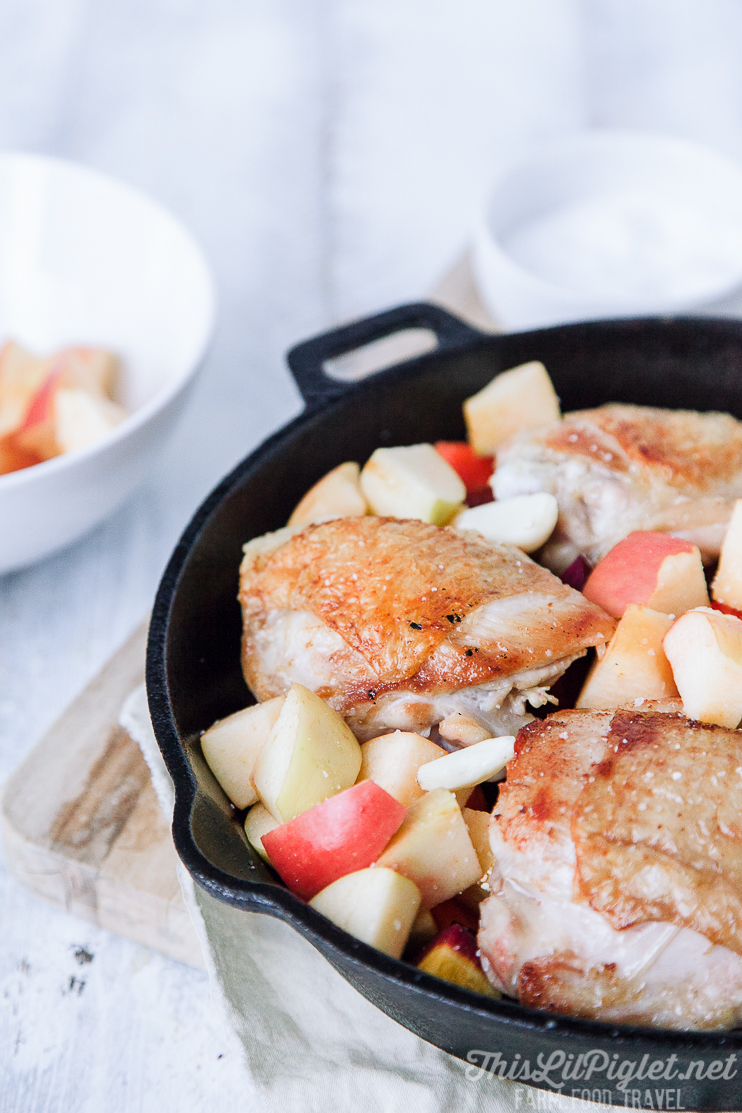 Skillet Chicken with Apple and Root Vegetables Close Up // thislilpiglet.net
