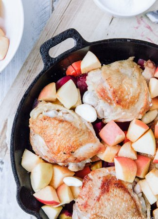 Skillet Chicken with Apple and Root Vegetables // thislilpiglet.net