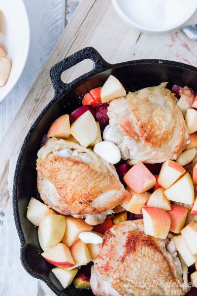 Skillet Chicken with Apples & Root Vegetables