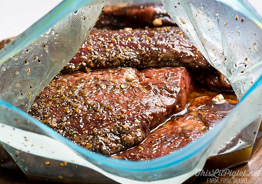 Tender and Delicious Grilled Marinated Steak Marinating // thislilpiglet.net