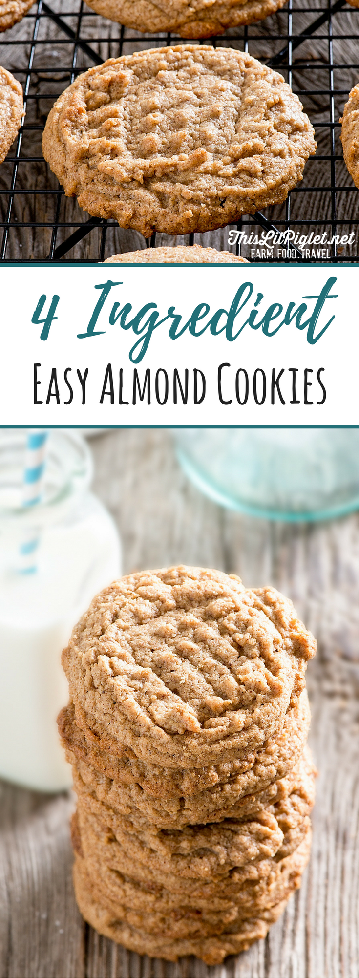 4 Ingredient Easy Almond Cookies PIN // thislilpiglet.net