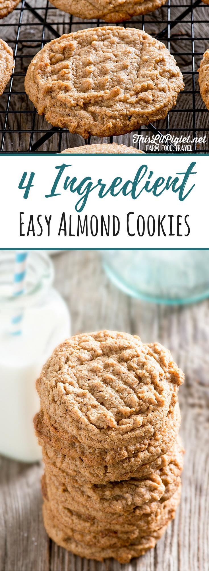 4 Ingredient Easy Almond Cookies PIN // thislilpiglet.net