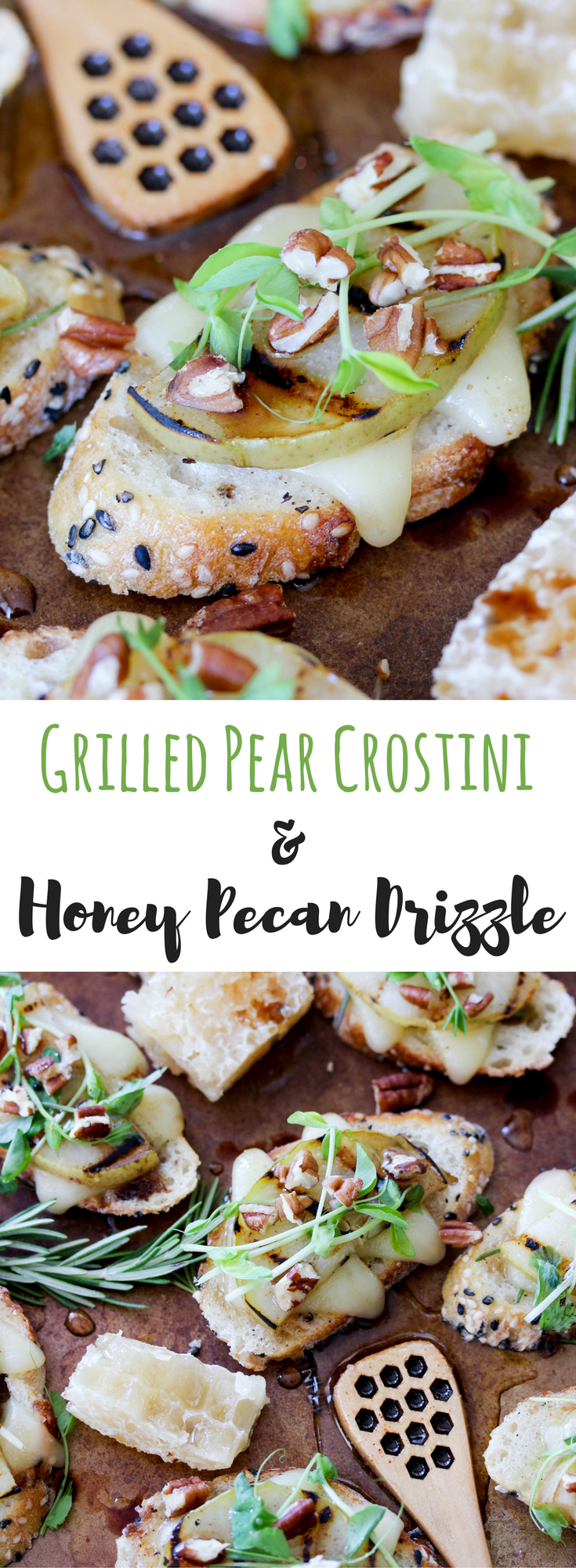Grilled Pear Crostini Honey Pecan Drizzle // thislilpiglet.net