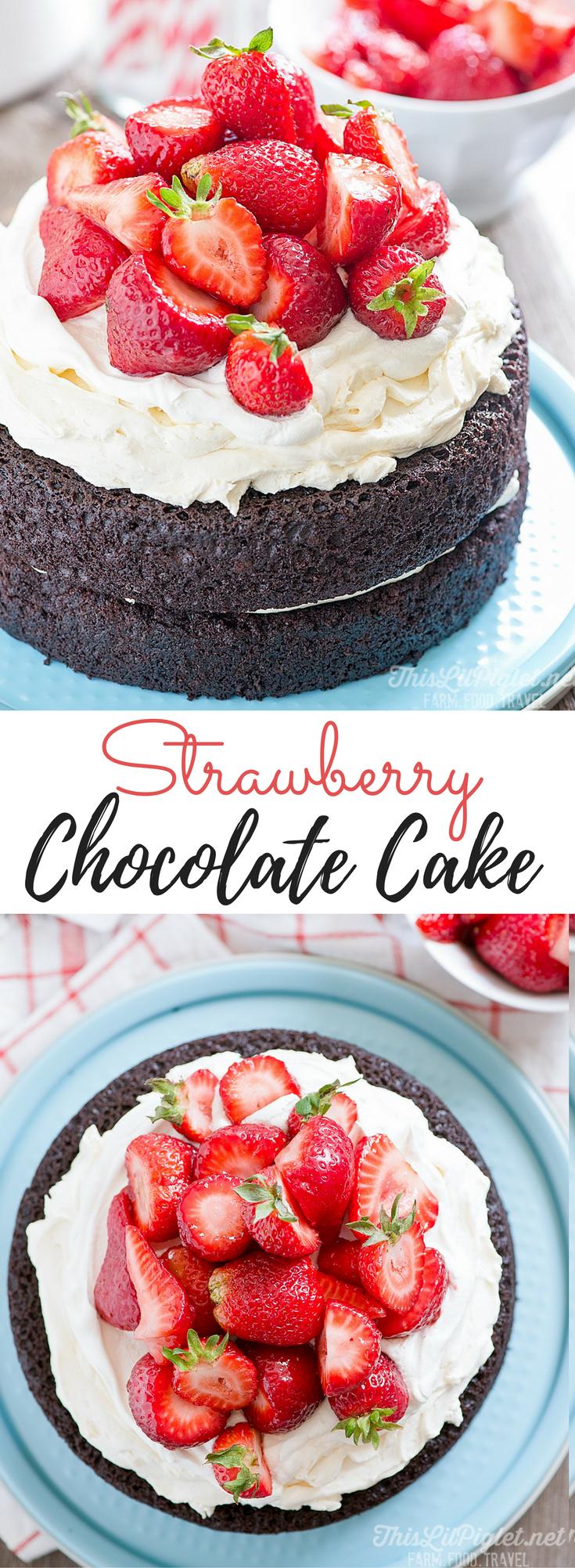 No Fuss Layered Strawberry Chocolate Cake // thislilpiglet.net