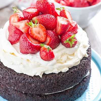 No Fuss Layered Strawberry Chocolate Cake