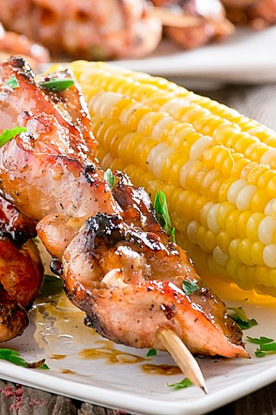 Grilled Chicken Kabobs with Thyme and Peach Glaze