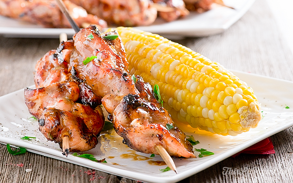 Grilled Chicken Kabobs with Thyme and Peach Glaze // thislilpiglet.net