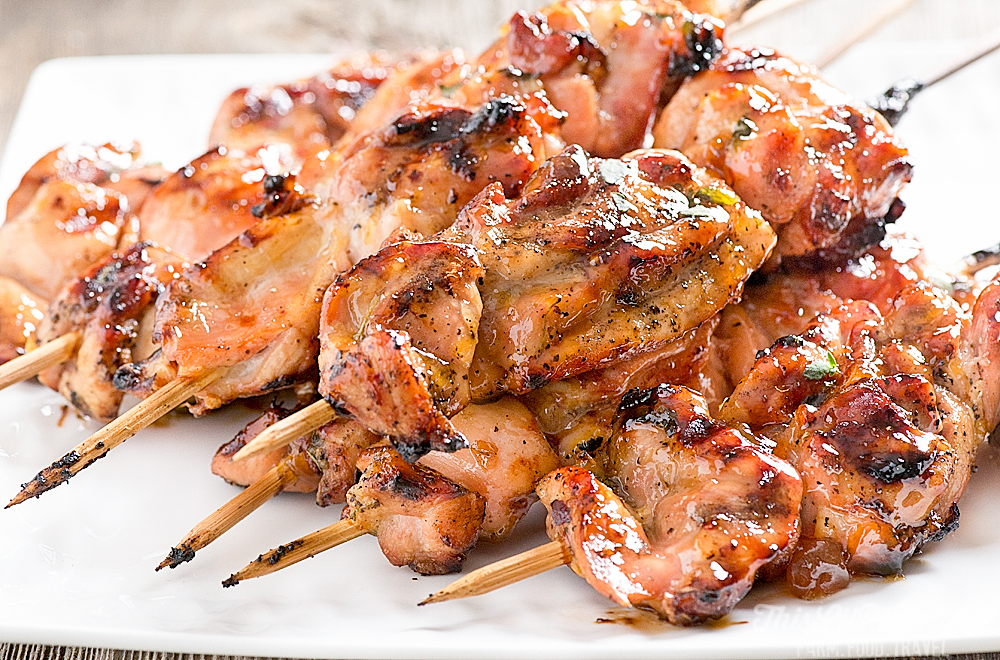 Grilled Chicken Kabobs with Thyme and Peach Glaze - Skewers // thislilpiglet.net