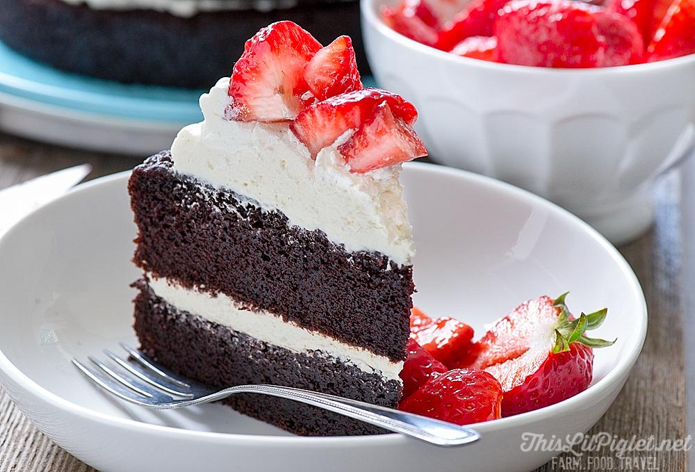 No Fuss Layered Berry Chocolate Cake: Slice // thislilpiglet.net