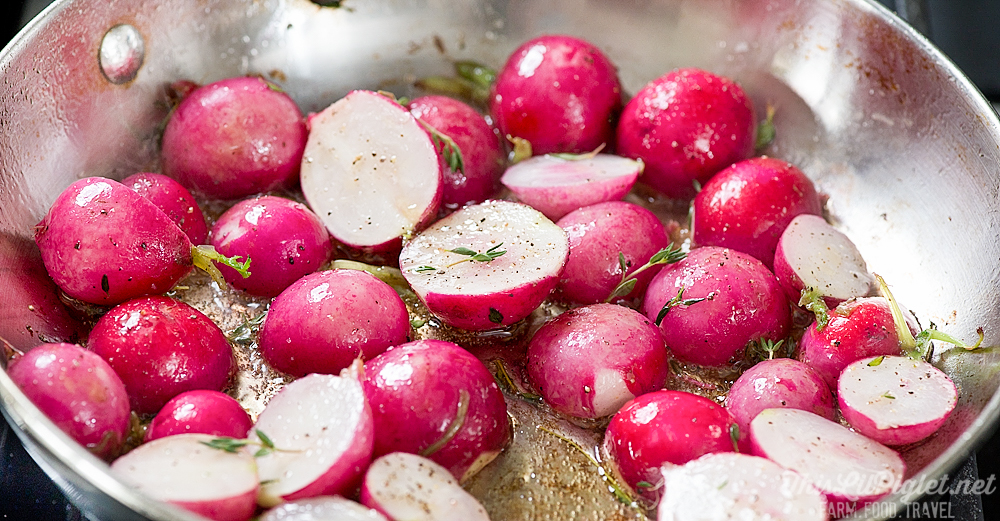 Roasted Vegetables: Radishes with Sea Salt and Thyme: Frying // thislilpiglet.net