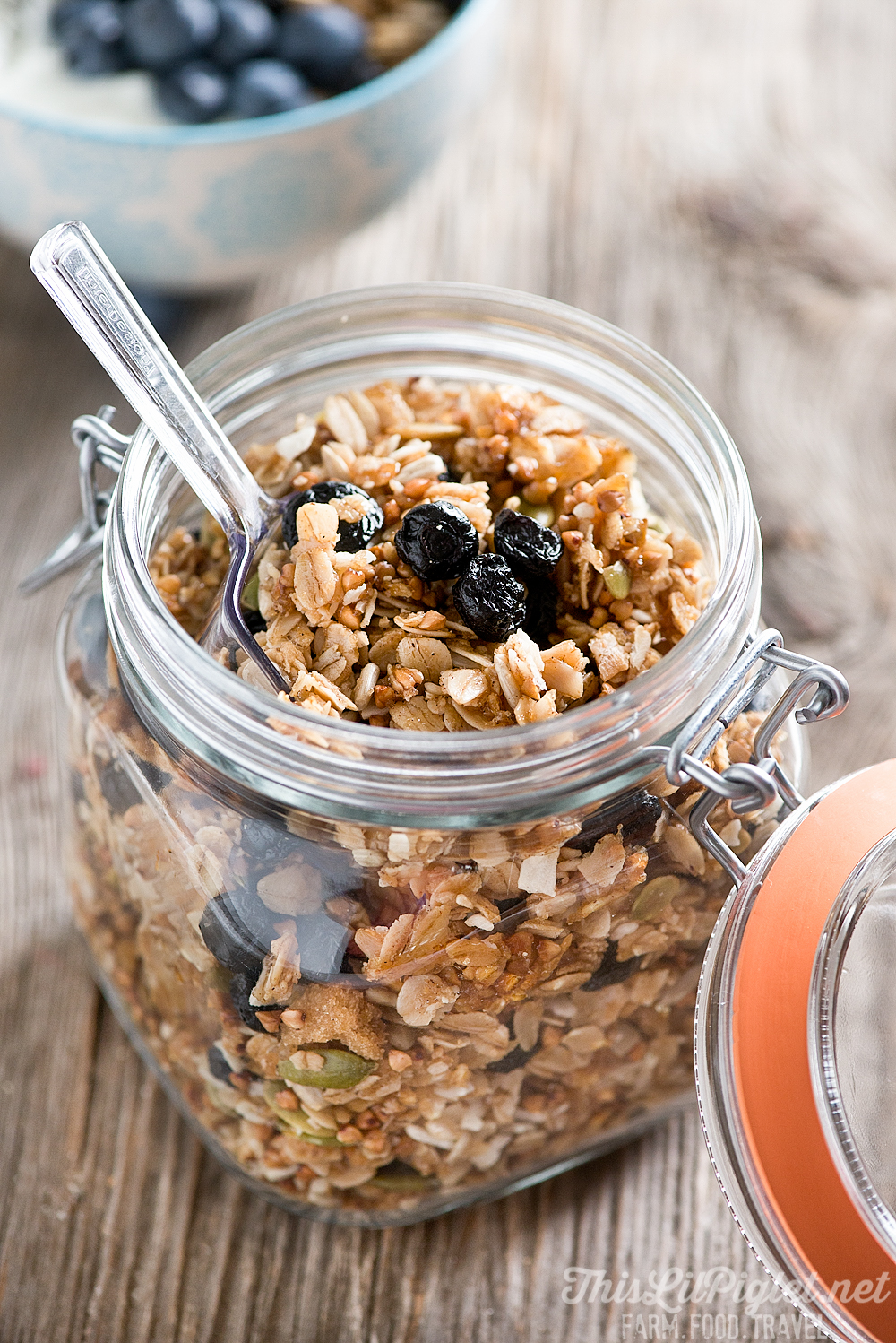 Blueberry Kasha Honey Homemade Granola Jar // thislilpiglet.net
